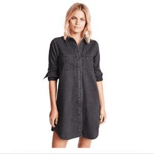 Madewell XS Shirt Dress Black Denim Distressed New
